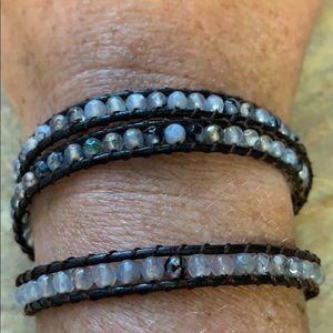 Jewelry - Fun leather and bead wrap bracelet